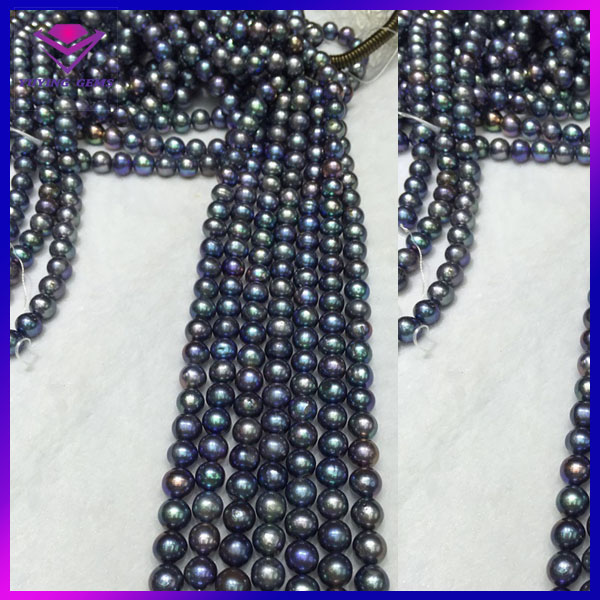 wholesale dealer black color ball shape with full hole loose pearl raw precious stones for sale