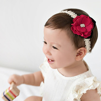 BQ093 Beauty Baby Girls Rose Lace Hairbands for sale