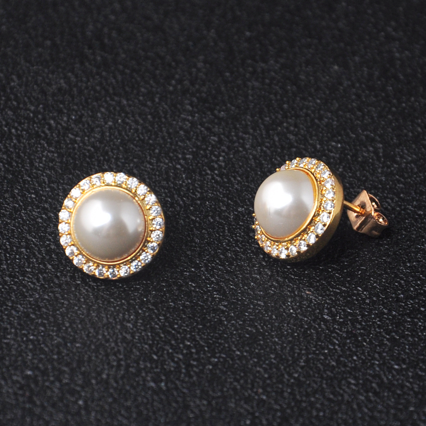 OB Jewelry-Fashion Design Women Bridal Jewelry Gift 925 Sterling Silver Pearl Stud Earrings