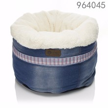 wholesale alibaba best selling products new premium kennel small warm washable Casual Jeans round cat pet bed in home garden