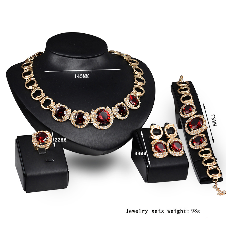 Fashion 4Pcs Costume Wedding Jewellery Sets 18K Gold Plated African Fine Jewelry Set with Austrian Crystal SKJT0340