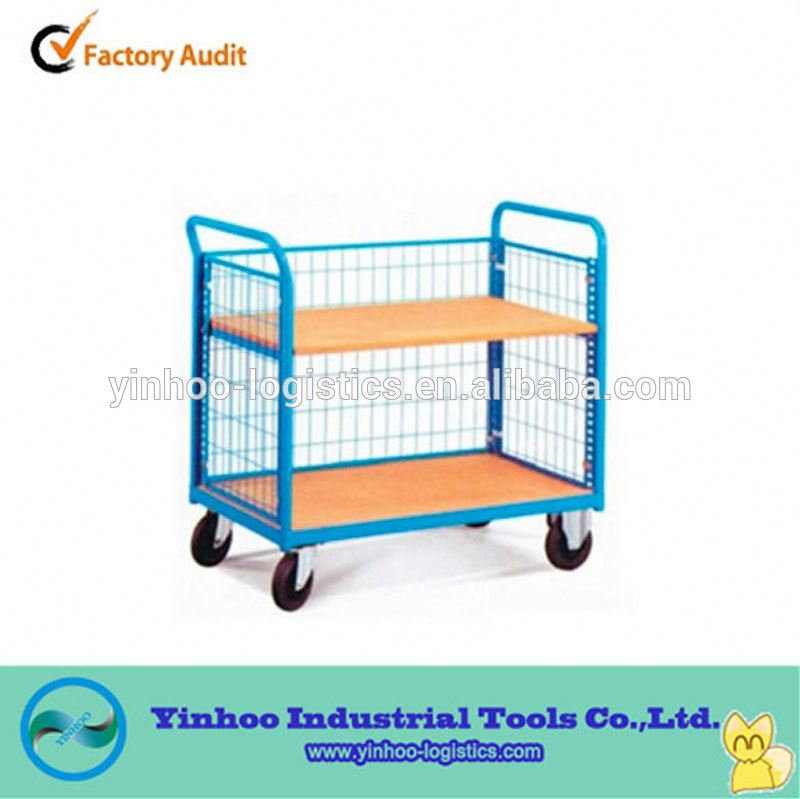 2015 New Transport Hand Carts Push double Layers Platform Trolley price made in China