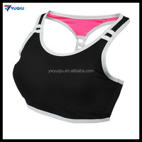 Customized 2016 Cheap Wholesale Black Double Straps Breathable Sports Bras Sexy Vest Gym Women Underwear