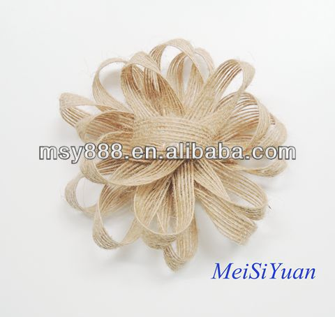Nature burlap jute ribbon bows for decoration