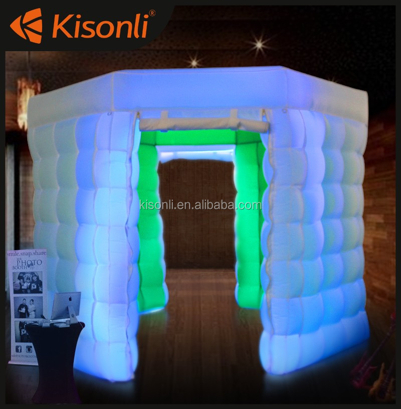 New lighting wedding portable inflatable photo booth/photobooth tent with led for sale