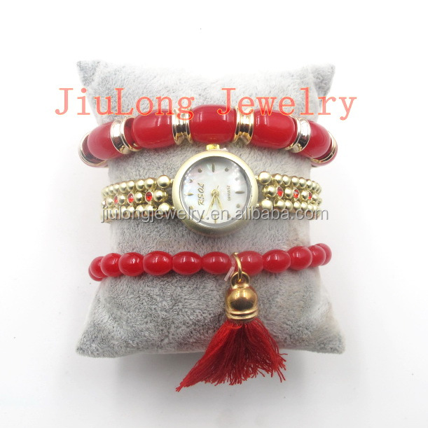 2017 Popular top Ladies red Beaded Bracelet Watch charm women wrist watch