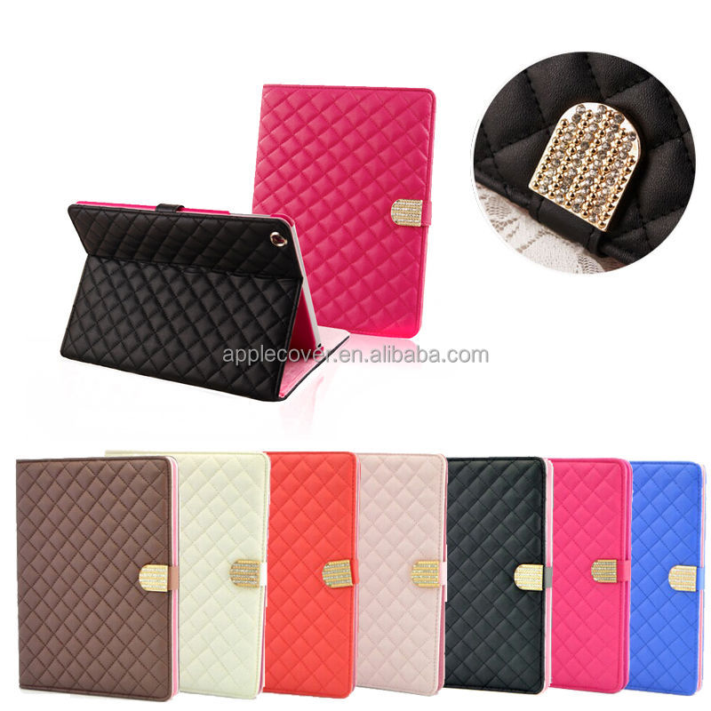 Luxury Unique ckeck Design Kickstand case for ipad mini 1/2/3,factory price case for ipad 4