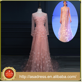 RASA-12 Incredible Pink Formal Evening Party Gown Zipper Back Soft A-Line Lace Appliqued Evening Dress Beading Long Sleeve Real