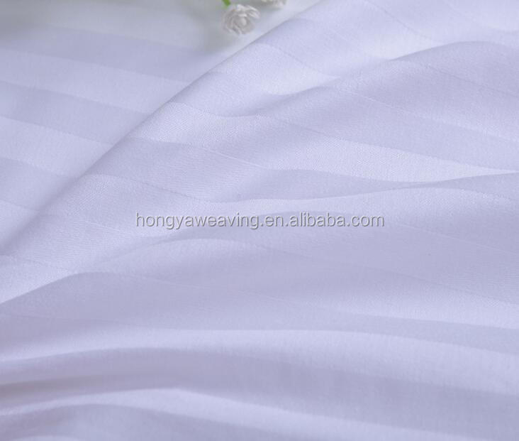 Factory direct cotton stripe hotel bedding fabric for bedsheets