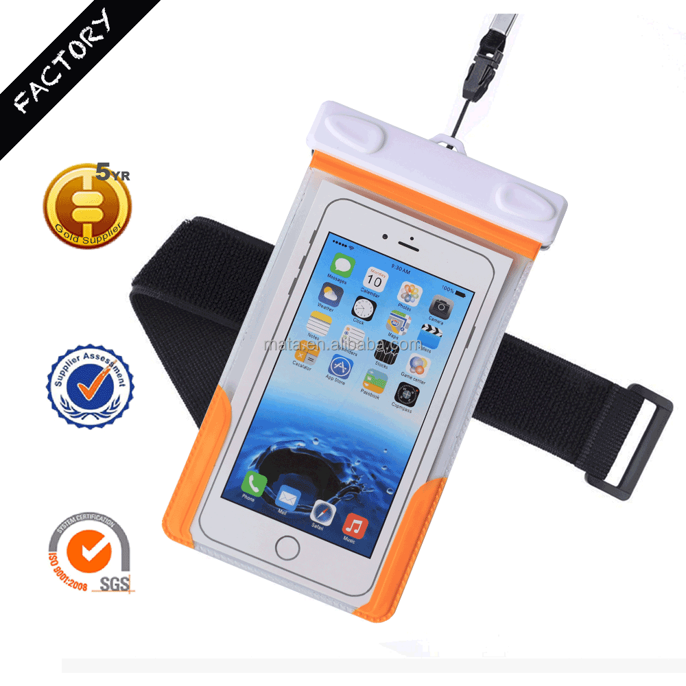 Eco-friendly PVC Waterproof Bag Phone with IPX8 certificated to 25m (up to 5.5' inches)
