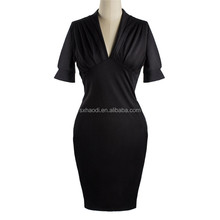 Sexy Women Deep V-neck Bodycon Slim Pencil Dresses Business Party Cocktail Women Dress