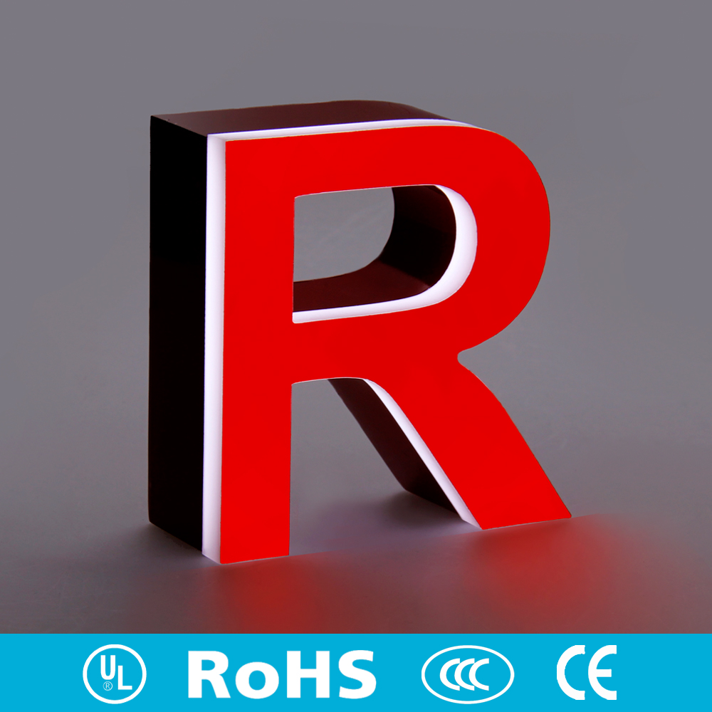 Front & Side lighted stainless steel acrylic marquee letters wholesale vintage metal letters led signs remote control in custom