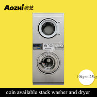 AOZHI satcked washer and dryer coin operate laundry equipment price commercial laundry