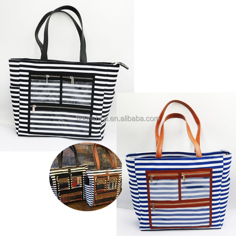 2018 Free Shipping Wholesale Women Stripe <strong>Tote</strong> Bag With Make up Transparent <strong>Tote</strong>