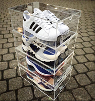 2015 hot selling custom design stackable acrylic sneaker box