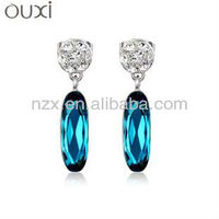 OUXI 18K gold plated gemstone earring & ouxi fashion jewellery with Austria crystal 20271