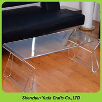 Custom Finished Curved Clear Coffee Table Lucite Vanity Table Acrylic Couch Table