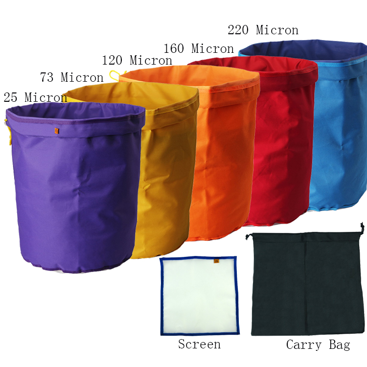 5-pack 10 Gallon Herbal Ice Bubble hash Bag Kit with free pressing screen and carry bag include