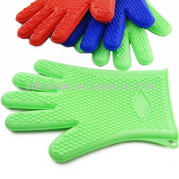 China Kitchen Cooking Oven Glove Heat Resistant Silicone BBQ Gloves