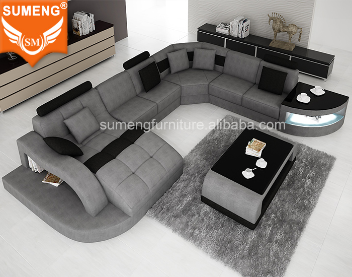 kuka home sectional fabric U shape <strong>sofa</strong> with LED Light