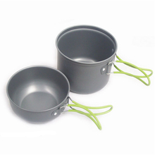Two Sets Single Portable Skillet Cookware Pot Picnic Pan Outdoor Camping Pot Travel Cooking Set