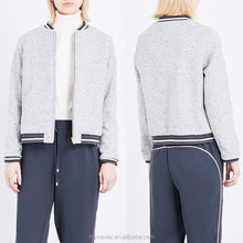 Stand collar wool-blend elasticated hem bomber jacket
