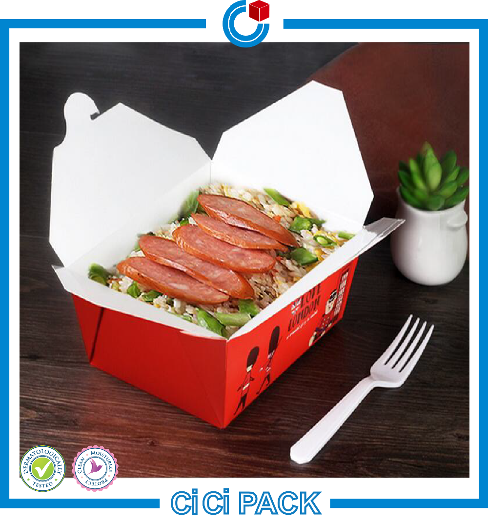 Disposable Lunch Food Packaging Box Rectangular Kraft Paper Food Box Packaging Fast Food Paper Packaging