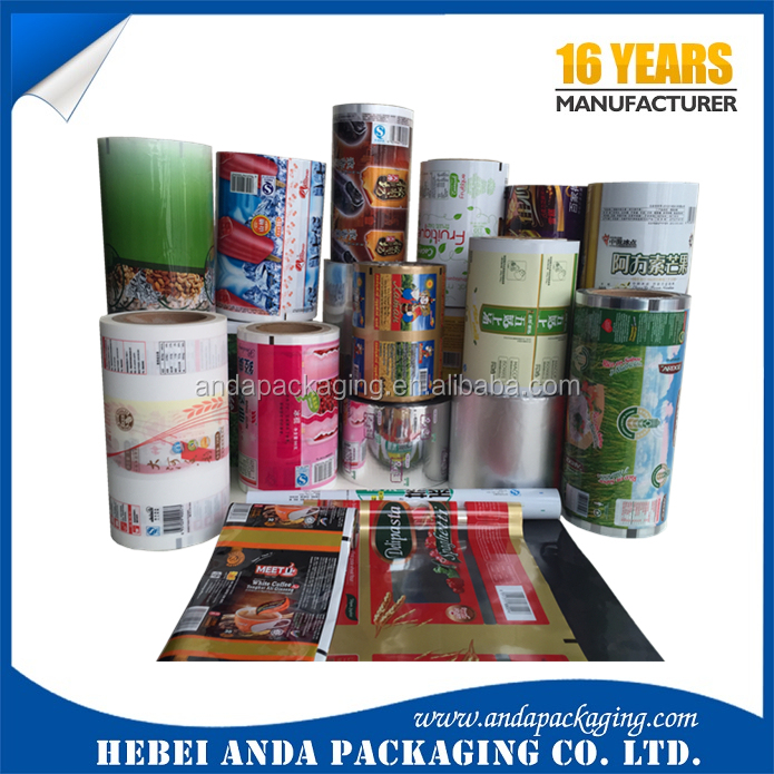 Snack food laminating film roll/ plantain chips packaging film/popsicle packing plastic film