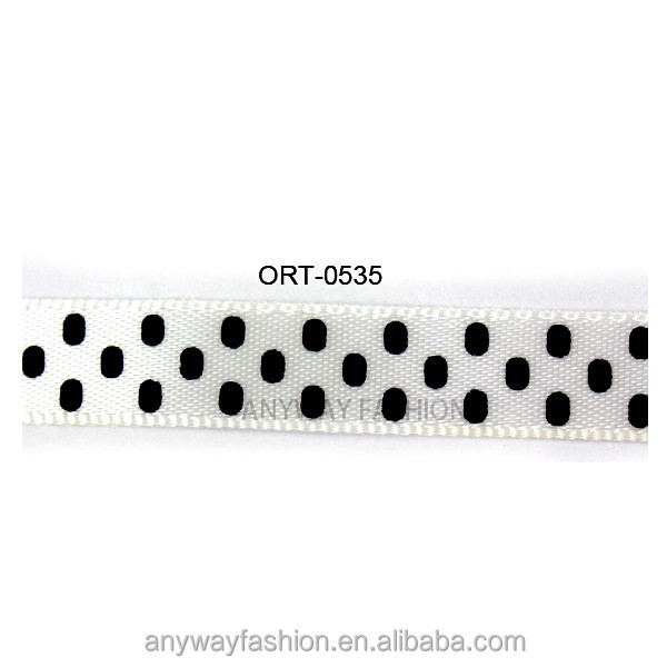 White and black double sided fashion dotted ribbon