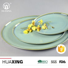 Chaozhou factory transmutation glaze ceramic baking pizza plate with different size
