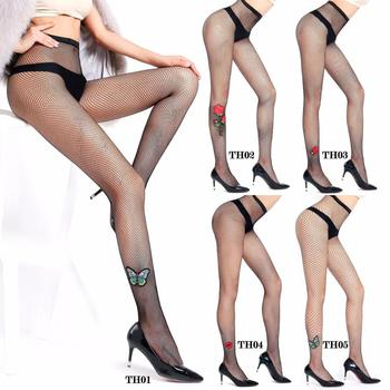 2018 New Style Sexy Women Stocking Hollow Fishnet Embroidery Net DIY Pantyhose Ladies Butterfly Lips Rose Mesh Tights