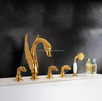 Bathroom solid brass gold swan bath tub shower faucet mixer