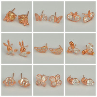 Vogue Brass Jewelry Supplier Hot Selling Rose Gold Plating Different Types Animal Shaped Stud Earrings