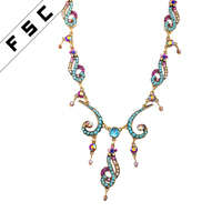 Factory Wholesale Exotic Multi Color Crystal Flower Ethnic Boho Necklaces for Women