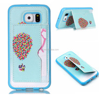 fashion funky color printing bumper with card slot/ stand fancy cell phone cover case for samsung galaxy s6