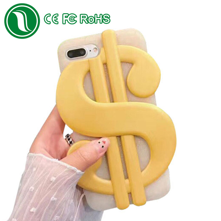 New products 2017 innovative product US dollar symbol design custom 3d silicone phone case for iphone 7 with glitter powder
