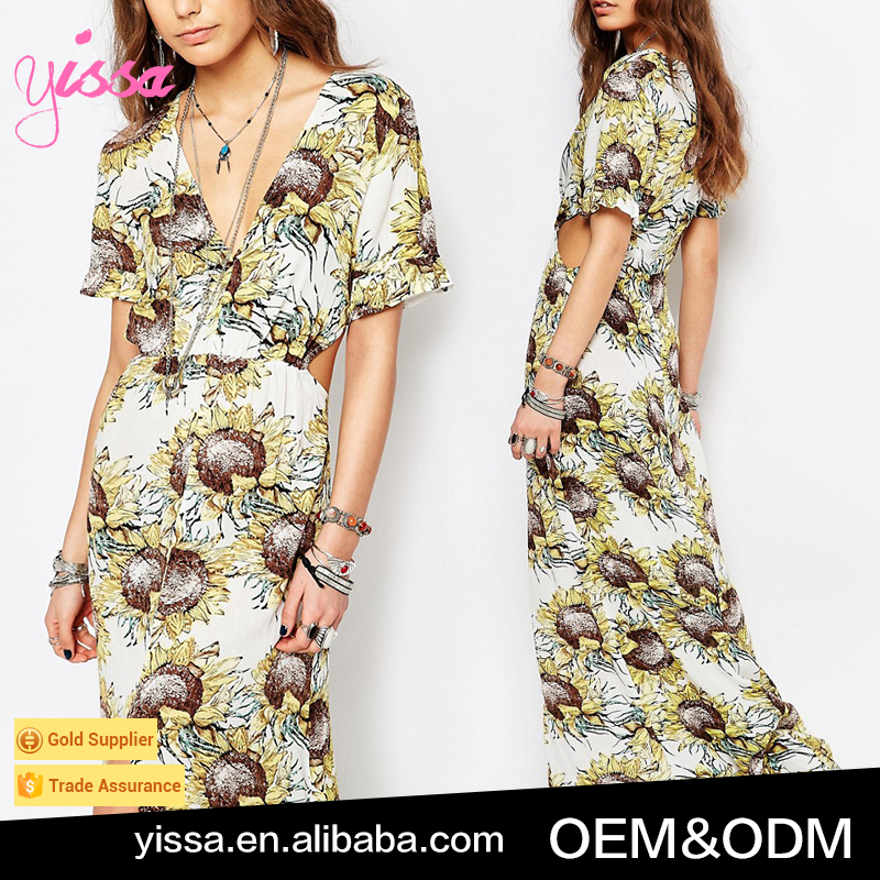 YISSA 2016 Bohemians Maxi With Frill Sleeves In Floral Dress