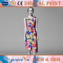 OEM Custom Digital Printing Cotton Linen Maxi Dress