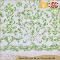 Custom new design green fancy curtain lace fabric embroidery
