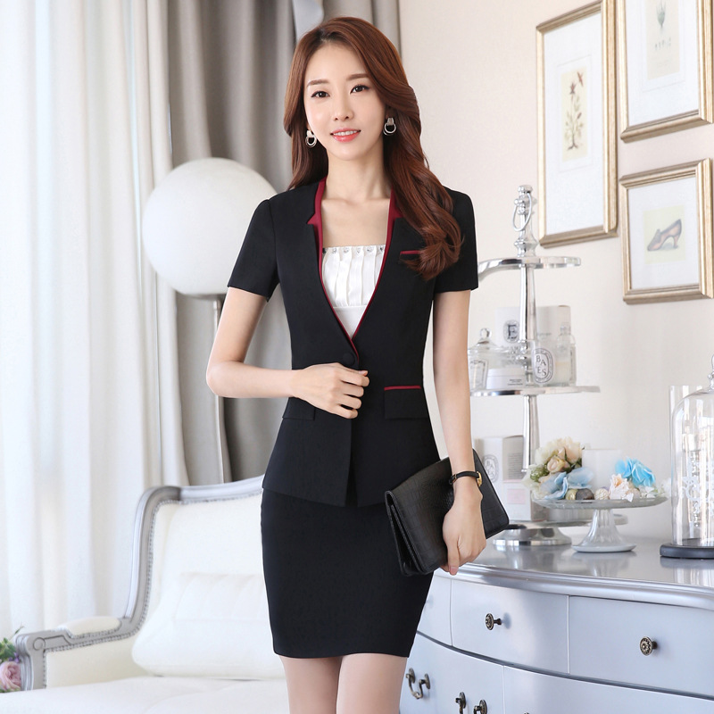 wholesale custom made pictures of sample office uniforms for women blazer suit and skirt