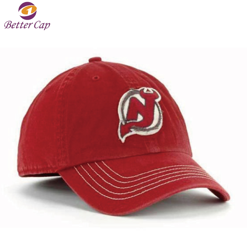 2D flat embroidery fitted washed style cotton flexfit cap