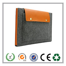 Custom Exquisite Leather Split Joint Felt Laptop Sleeve For Office