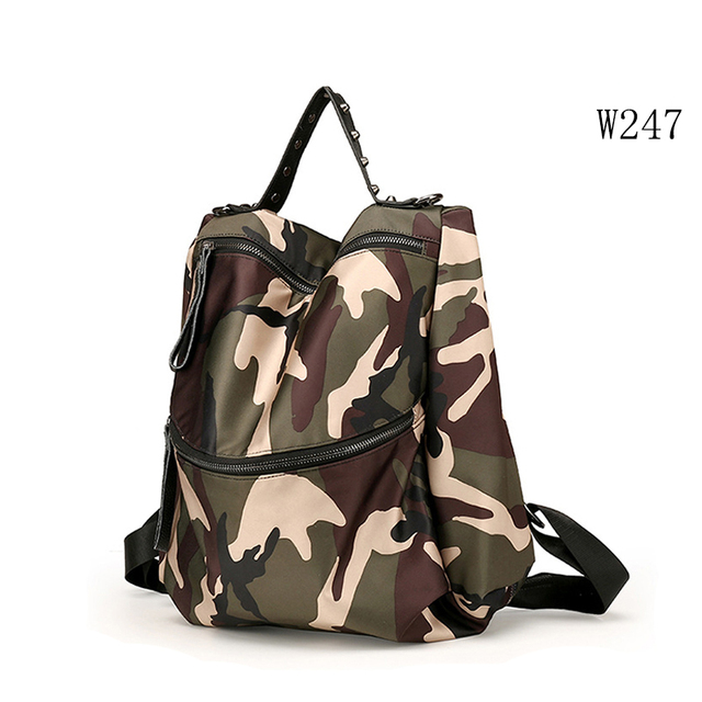 W247 All match Camouflage female backpack cool style women school back bag
