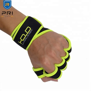 PRI In Stock Fitnesss Training Long Wrist Great Grip Fingerless Cycling Weight Lifting Gym fitness gloves,gym weights