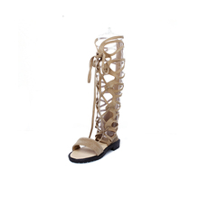 2017 beautiful knee high zipper gladiator low heel ladies sandals