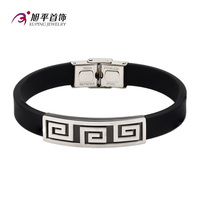 B0421009- xuping new designs custom man leather stainless steel bangle