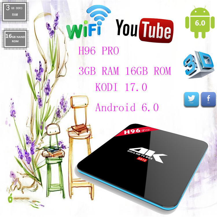 Android 6.0 amlogic S912 koid 3gb ram 16gb rom 17.0 H96 PRO open set top box h96 pro tv box