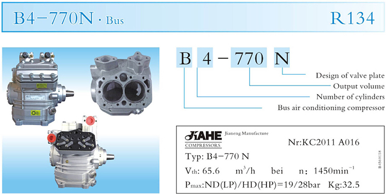 Jianeng B4-770N professional new ac air conditioning compressor,city bus air compressor for sale,Double decker bus a/c condition
