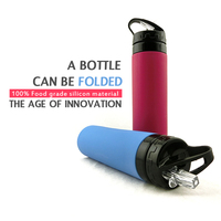 Shenzhen factory supply tritan bpa free water bottle silicone, sports camping canteen foldable bottle