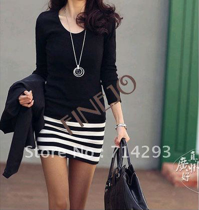 2012 women's new Korean ladies large size fashion Slim striped dress 3691